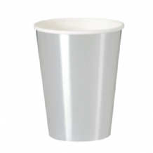 Metallic Silver Party Cups - 12oz Foil Board Cups (8pcs)